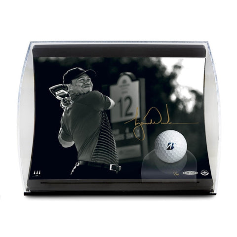 "Tiger Woods Autographed ""Gold Drive"" Curve Display"