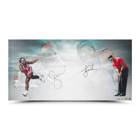 "Tiger Woods and Serena Williams Autographed ""Luminaries"" 36 x 18"