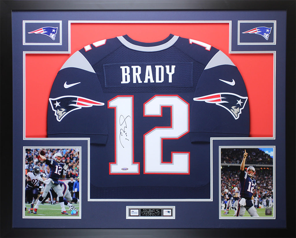 6f61a35c4 ... get tom brady autographed framed navy patriots jersey auto tristar coa  d super sports center 19b0e
