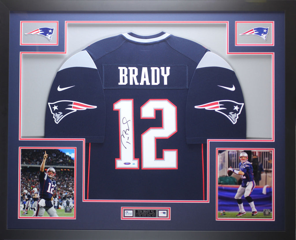 free shipping 10b16 7975a Tom Brady Autographed & Framed Blue Patriots Nike Jersey Tristar COA D11-L