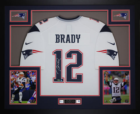 Tom Brady Autographed & Framed White Patriots Nike Jersey Tristar COA D12-L