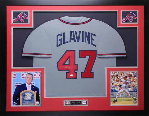 Tom Glavine Autographed and Framed Gray Braves Jersey Auto JSA COA D4-L