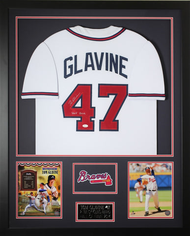 Tom Glavine Autographed HOF and Framed White Braves Jersey JSA COA (D1-V)