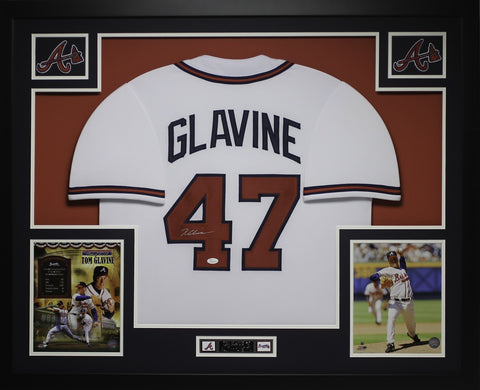 Tom Glavine Autographed and Framed White Braves Jersey Auto JSA Certified
