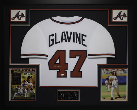 Tom Glavine Autographed and Framed White Braves Jersey Auto JSA COA