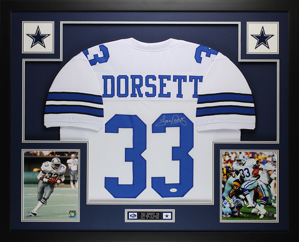 best website f519b 463c7 Tony Dorsett Autographed and Framed White Cowboys Jersey Auto JSA Certified