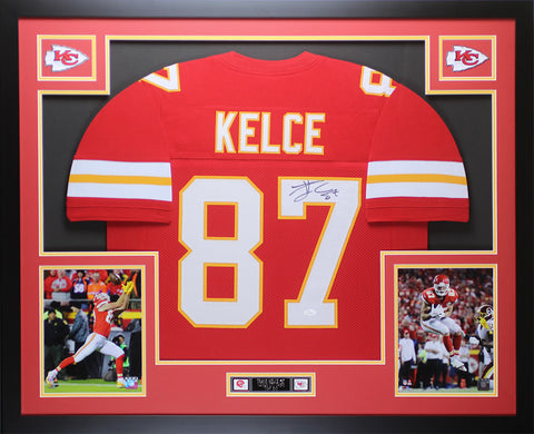 Travis Kelce Autographed & Framed Red Kansas City Chiefs Auto JSA COA D1-L