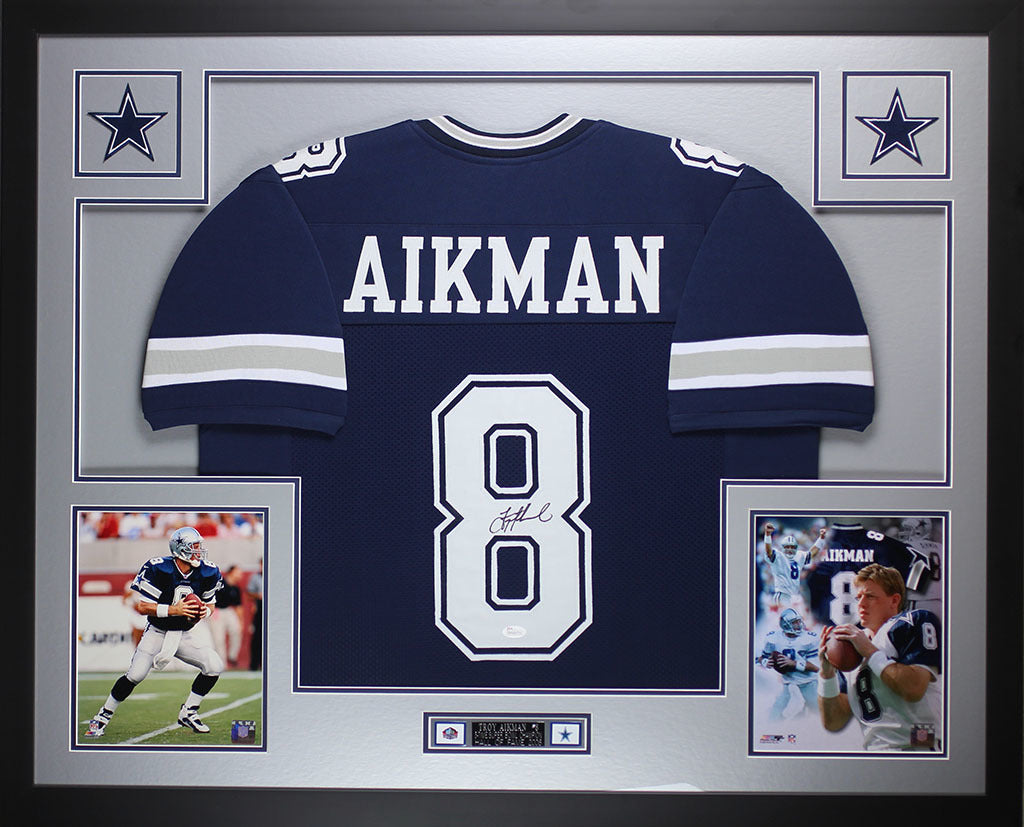 100% authentic 34f0b 86982 Troy Aikman Autographed and Framed Blue Cowboys Jersey JSA COA D9-L