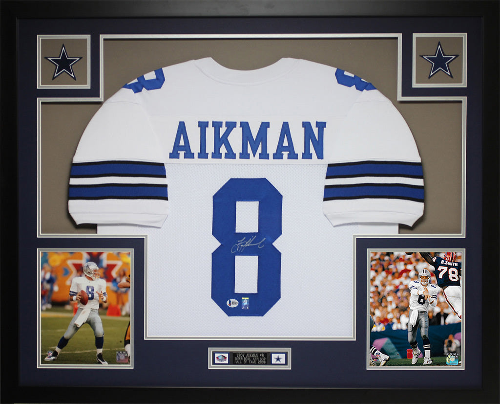 26006fb31 Troy Aikman Autographed and Framed White Cowboys Jersey Auto Beckett C –  Super Sports Center
