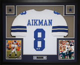 Troy Aikman Autographed and Framed White Cowboys Jersey Auto Beckett COA D18-L