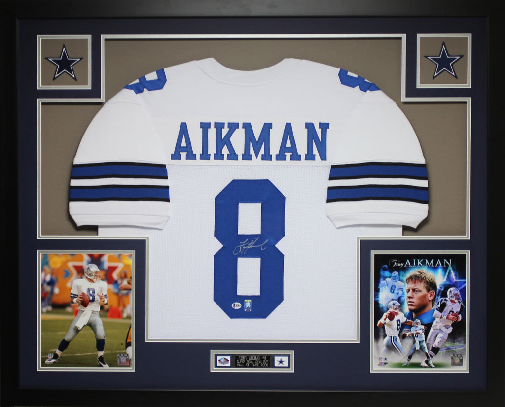 sneakers for cheap be06c 393d3 Troy Aikman Autographed and Framed White Cowboys Jersey Auto Beckett COA  D17-L