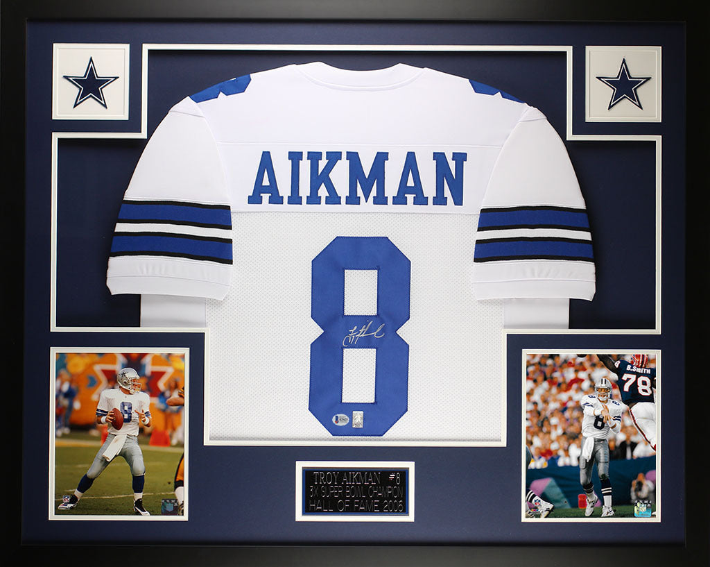 finest selection 54a2d 45c5d Troy Aikman Autographed and Framed White Cowboys Jersey Auto Beckett COA  D15-L