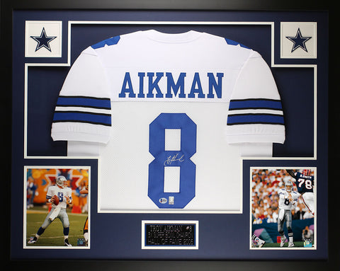 Troy Aikman Autographed and Framed White Cowboys Jersey Auto Beckett COA D15-L