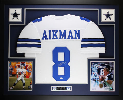 Troy Aikman Autographed and Framed White Cowboys Jersey JSA COA D8-L