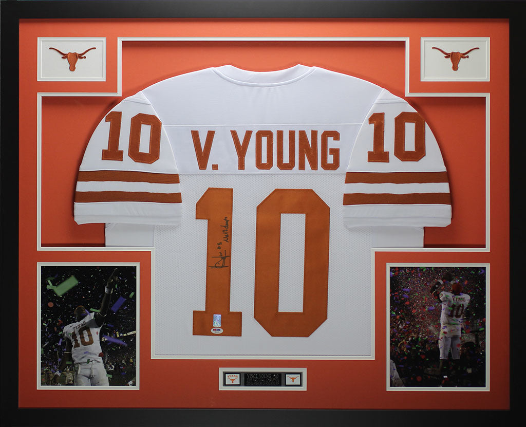 innovative design 7c317 266ca Vince Young Autographed and Framed White Longhorns Jersey Auto PSA COA D3-L
