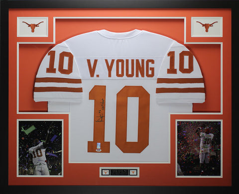 Vince Young Autographed and Framed White Longhorns Jersey Auto PSA COA  D3-L