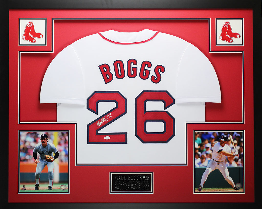 on sale ac2b9 016ae Wade Boggs Autographed HOF 05 and Framed White Red Sox Jersey Auto JSA COA  D2-L