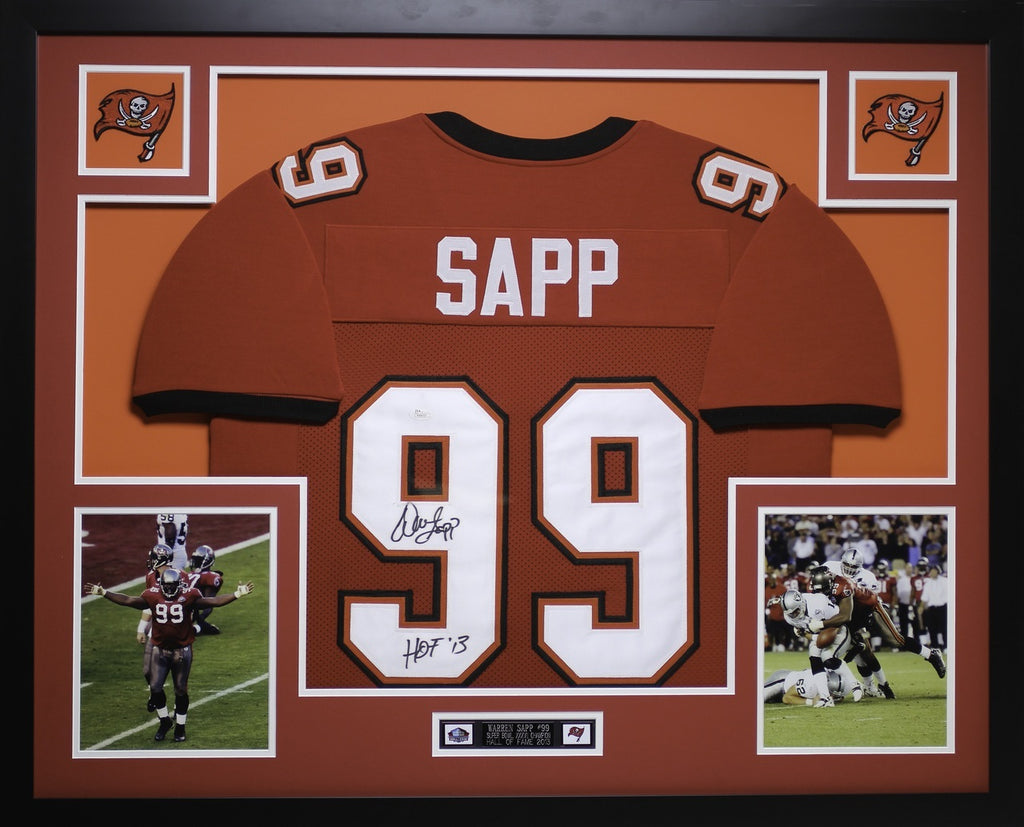 size 40 145fd 23023 Warren Sapp Autographed HOF 13 and Framed Red Buccaneers Jersey Auto JSA  Certified