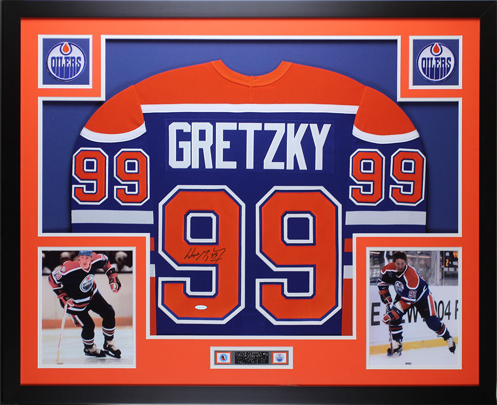 huge selection of 7fabc 3a326 Wayne Gretzky Autographed & Framed Blue Oilers Jersey Auto Upper Deck COA  D8-L