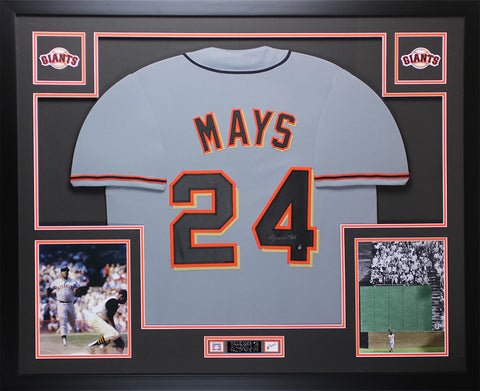Willie Mays Autographed and Framed Gray Giants Jersey Auto Say Hey COA D7-L