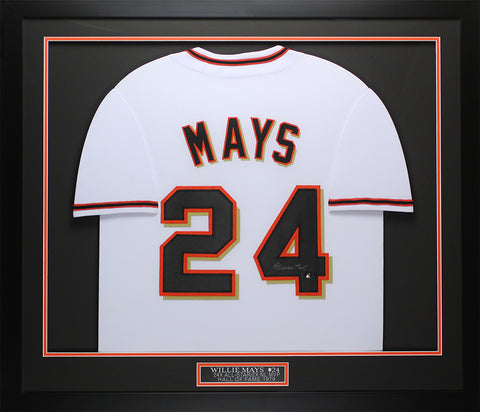 Willie Mays Autographed and Framed White Giants Jersey Auto Say Hey COA D8-M
