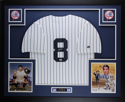 Yogi Berra Autographed and Framed White Pinstriped Yankees Jersey Auto JSA Certified D3-L