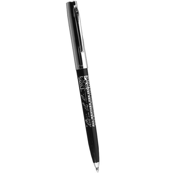 Standard all weather pen. Black barrel with silver cap.