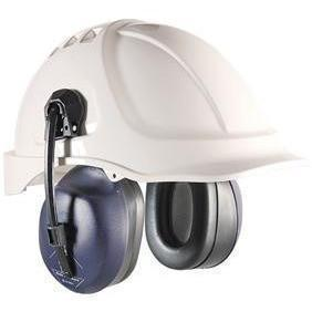Two Earmuffs Mounted On A White Helmet