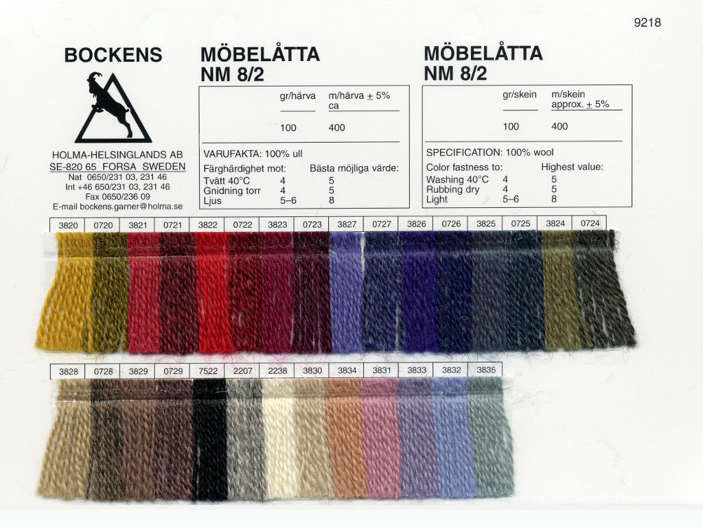 Mobelatta 8/2 Wool Sample Card