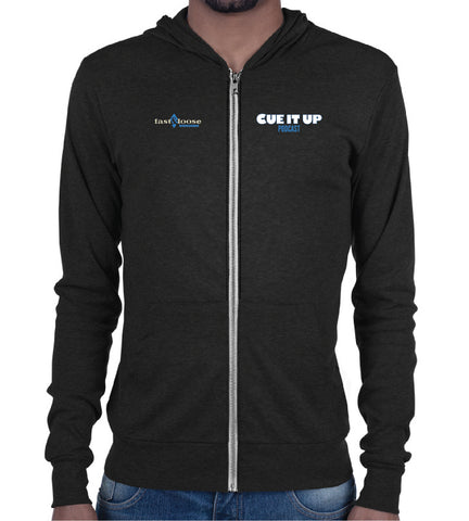 CUE IT UP (Zip Hoodie) - Charcoal