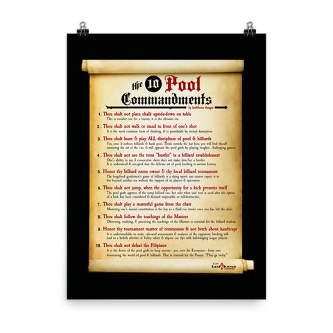 THE 10 POOL COMMANDMENTS POSTER