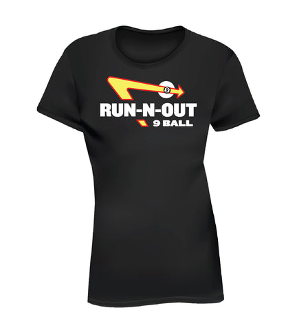 RUN-N-OUT 9 BALL (Women's Tee) - Black