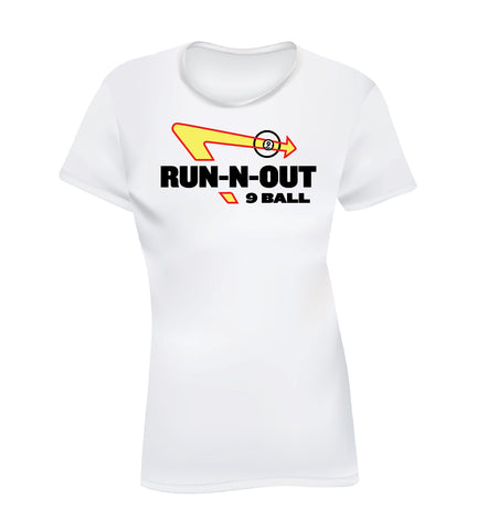 RUN-N-OUT 9 BALL (Women's Tee) - White