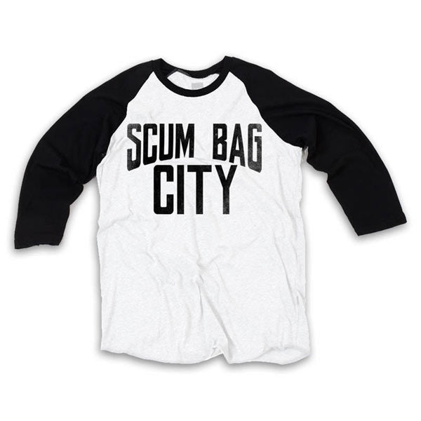 BLACK/WHITE SCUM CITY BASEBALL T-SHIRT