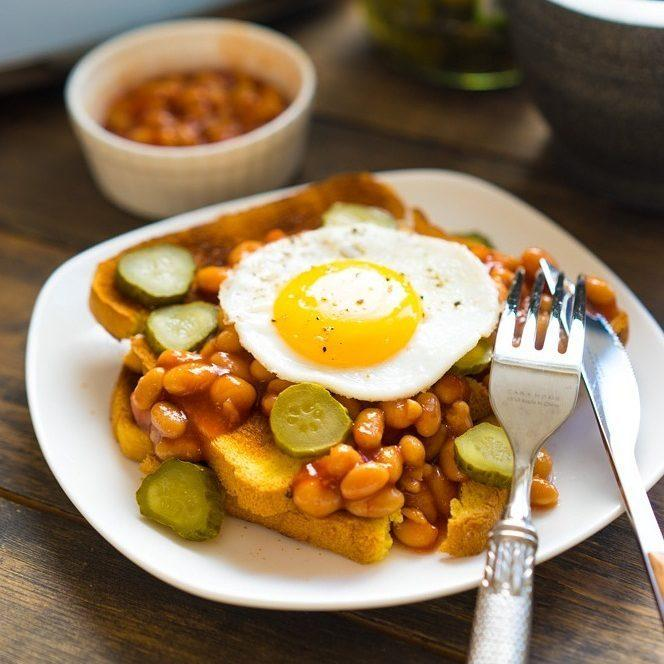 Quick Morning Beans and Fried Eggs Recipe