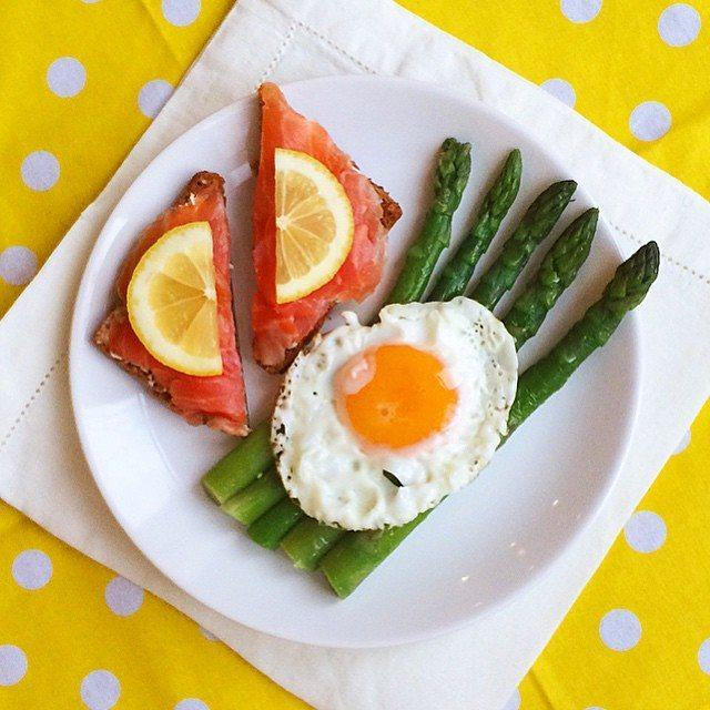 Smoked Salmon Asparagus and Poached Eggs