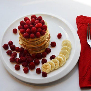 Banana and raspberry pancakes