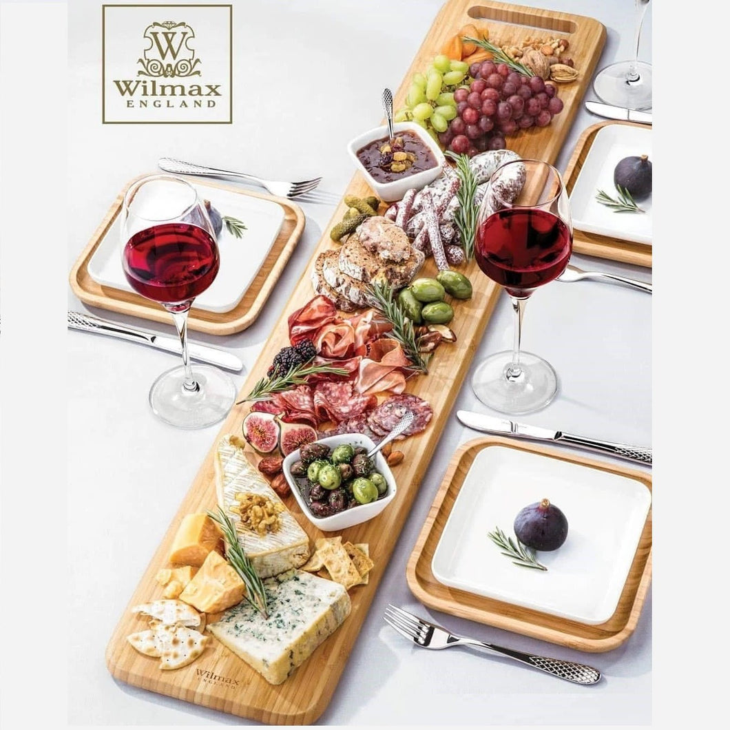 Large Feast Charcuterie Plating Set Including Long Bamboo Serving Tray And Square Bamboo Platters With Fine Porcelain Plates To Match
