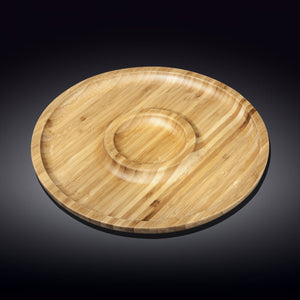 [A] Natural Bamboo 2 Section Platter 12"