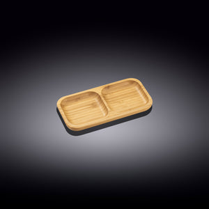 "Natural Bamboo Divided Dish 8.5"" X 4.5"" 