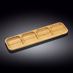 "Natural Bamboo Divided Dish 17"" X 4.5"" 