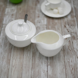 [A] Fine Porcelain Sugar Bowl & Creamer Set: Sugar Bowl 11 Oz | 340 Ml  & Creamer WL-880112/2C