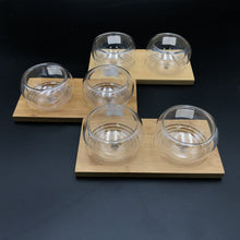 A Set Of 3 Bamboo Double Trays With 6 Doublewalled Thermo Bowls To Match WL-555029