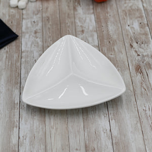 [C *] Fine Porcelain Divided Triangular Dish 8"