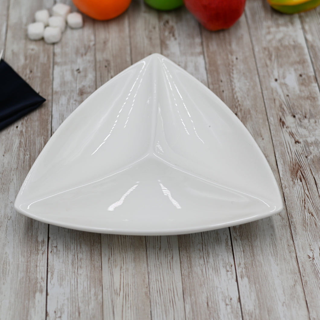 [C *] Fine Porcelain Divided Triangular Dish 9.5