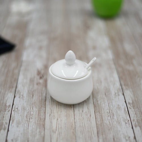 [A] Fine Porcelain 4 Oz | 130 Ml Mustard Pot With Spoon WL-996083/A