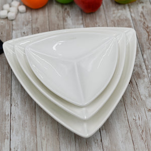 [C *] Fine Porcelain Divided Triangular Dish 9.5"