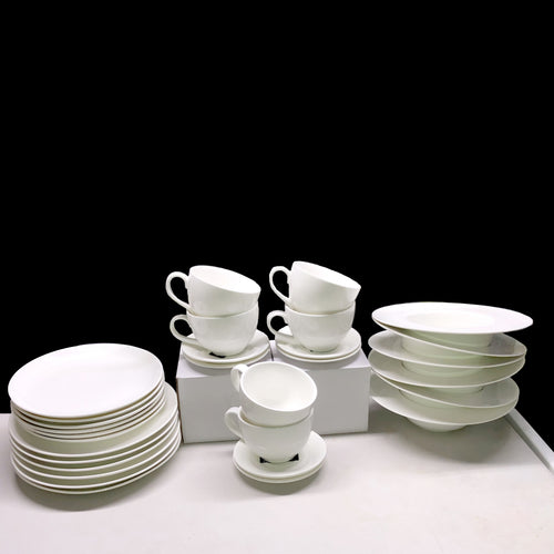 HUGE 30 - Piece Kitchen Dinnerware Set, Plates, Dishes, Bowls, cups and saucers Service for 6 Pure European White. Wilmax Economy line WL-555082