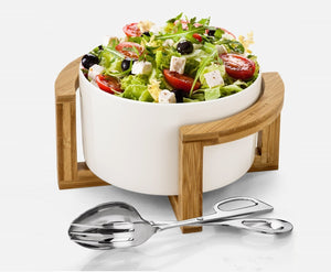 Medium Salad Bowl Set With Serving Tongs And A Bamboo Stand WL-555009
