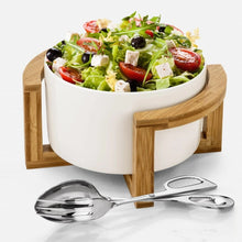 Family Size Large Salad Bowl Set With Serving Tongs And A Bamboo Stand WL-555010